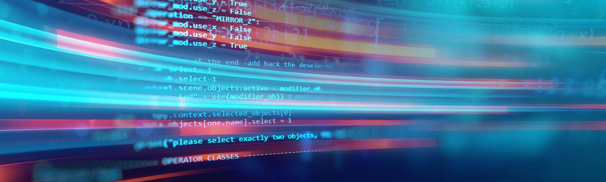 Code script blue background